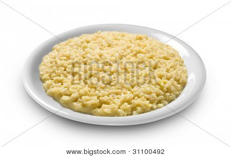 plate of rice, risotto with saffron alla milanese
