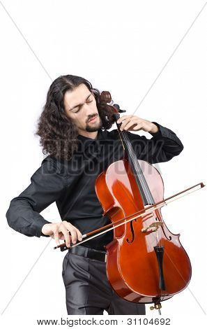 Man playing cello on white