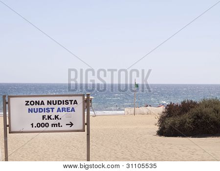 Nudist Zone Sign