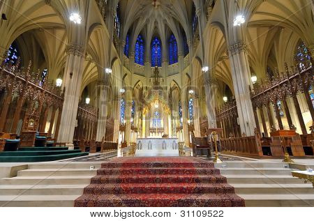 Interior of St. Patrick's Cathedral, a famed neogothic Roman Catholic Cathedral in New York City.