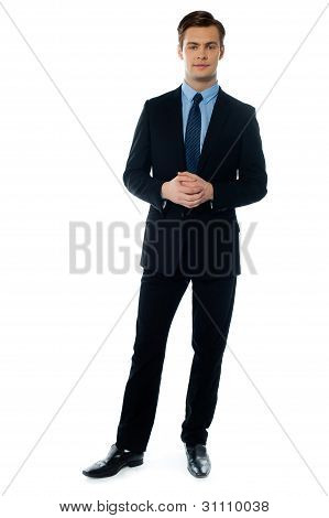 Young Handsome Man In Black Suit