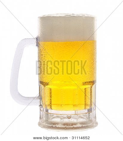 A cold frosty mug of beer on a white background.