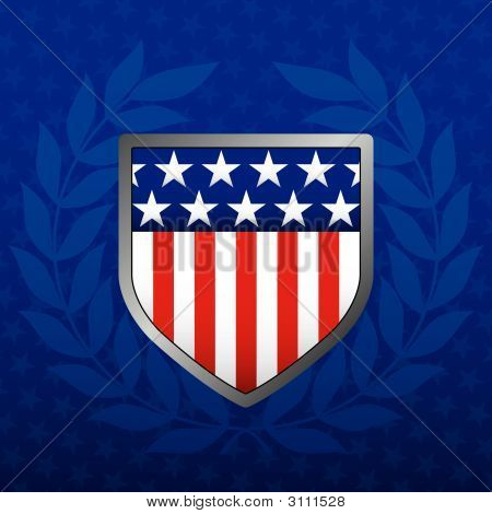 Red White And Blue Shield On A Star Background