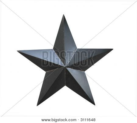 Black Star Decoration On A White Background