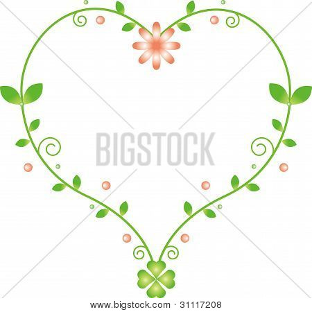 Natural heart-shaped frame