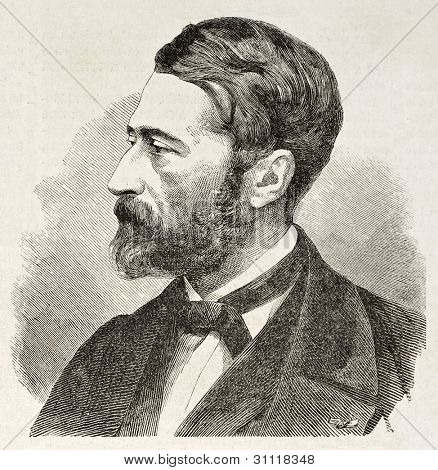 Emile Loubon old engraved portrait (French painter). Created by Chenu, published on L'Illustration, Journal Universel, Paris, 1863
