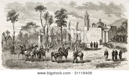 French intervention in Mexico: troops in San-Bartolo, along the way from Orizaba to Puebla. Created by Gaildrau, published on L'Illustration, Journal Universel, Paris, 1863