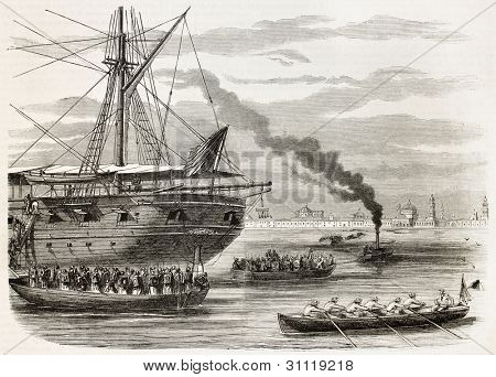 French intervention in Mexico: Egyptian battalion landing in Veracruz from La Seine. Created by Godefroy-Durand, published on L'Illustration, Journal Universel, Paris, 1863