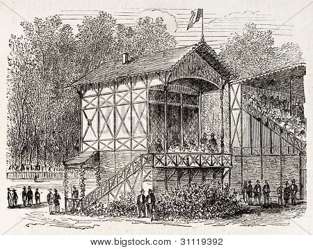 Imperial pavilion in Vincennes racecourse, old view, France. Created by Gaildrau, published on L'Illustration, Journal Universel, Paris, 1863