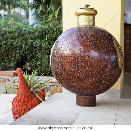 Engraved Bottle Garden Ornament Rajasthan India