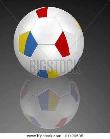Polish and Ukrainian flag soccer ball on black with reflection
