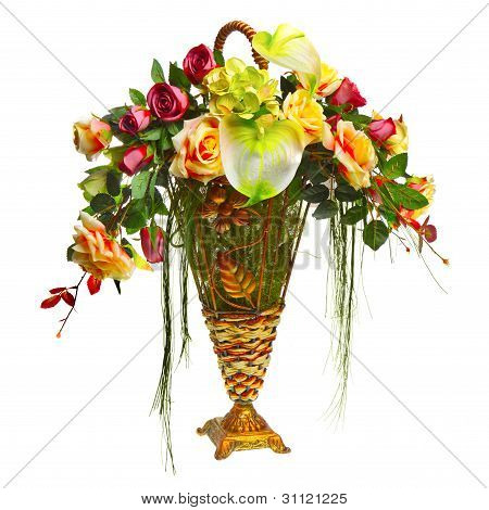 basket with roses and anthurium