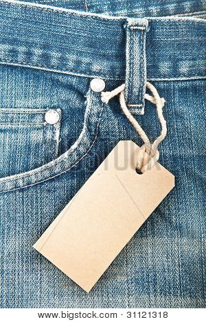 blue denim jeans with paper label