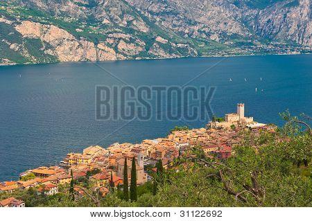 Panorama Of Sirmione Village And Lake Garda, Italy