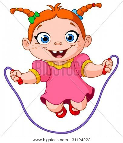 Young girl jumping over a skipping rope