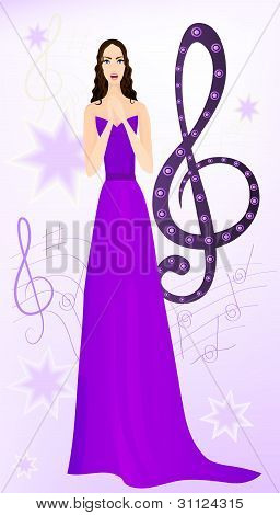 Beautiful Opera Singer On Musical Background