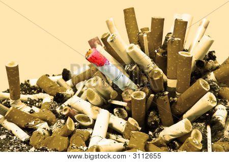 No Smoking! Cigarettes And Ashes Sepia