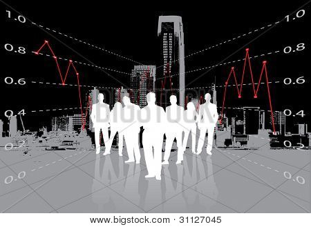 business people with financial statement and metropolis background