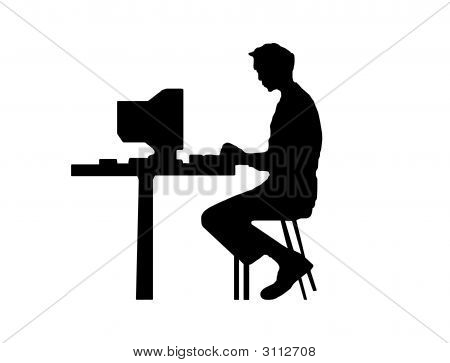 MàN Typing At A Computer