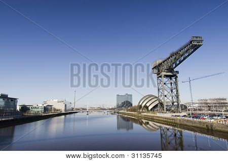 Sunny Glasgow River Scene Showing Landmarks