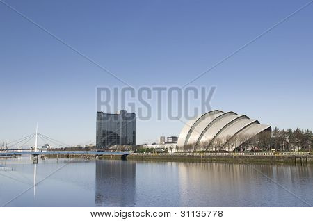 Sunny River Clyde Showing Bell's Bridge, Hotel And Armadillo