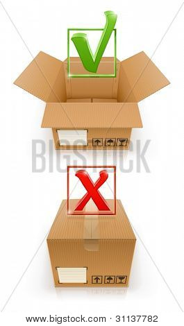 boxes with OK and cancel mark vector illustration isolated on white background EPS10. Transparent objects and transparency mask used for shadows and lights drawing.