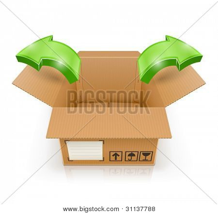 opened box with arrow outside vector illustration isolated on white background EPS10. Transparent objects and transparency mask used for shadows and lights drawing.