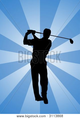 Pro Golfer Swinging Club In Silhouette