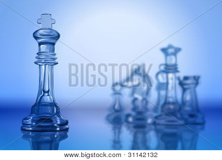 transparent chess pieces on the mirror surface and a blue background - vector illustration / eps10