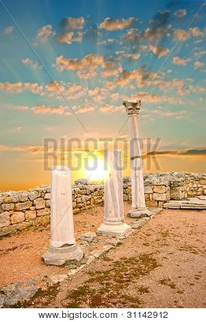 Ancient Greek Columns At Sunset