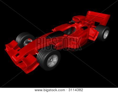 Red 3D Race Car Side View