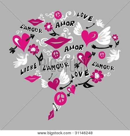 Talk Bubble Made Of Symbols Of Love