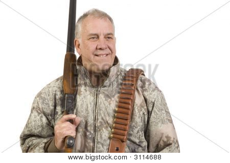 Hunter With Shotgun Over Shoulder Isolated