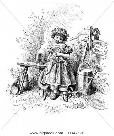 """Shyness"" - engraving by Oscar Pletsch. Published in �«Little Folks�» book, London, 1865"