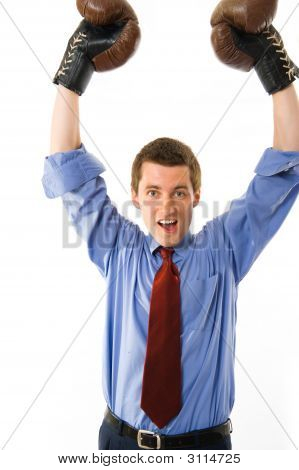 The Winner. Businessman Boxer. Isolated Over White Background