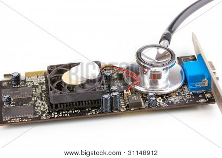 Videocard on repairs isolated on white