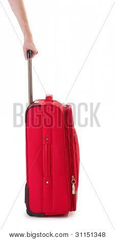 Rote Koffer isoliert auf einem weißen