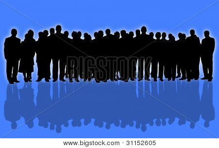 blue background and business people silhouette