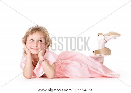 little girl in a pink dress