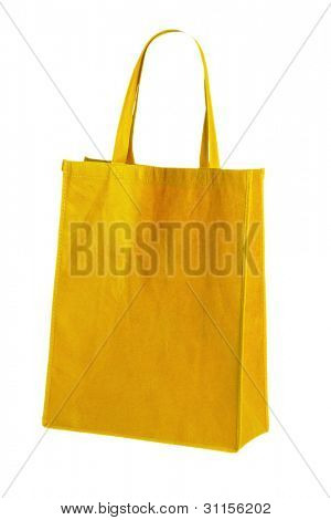 yellow cotton bag on white isolated background