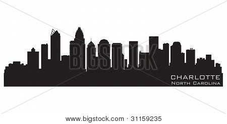Charlotte, North Carolina Skyline. Detailed Vector Silhouette