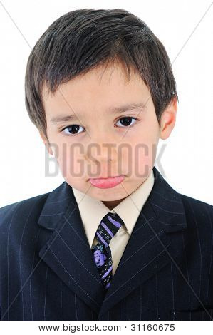Cute little businessman boy making face expression