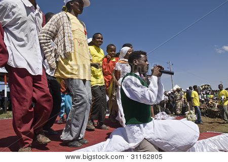 Young Ethiopian Singer Performing On Stage