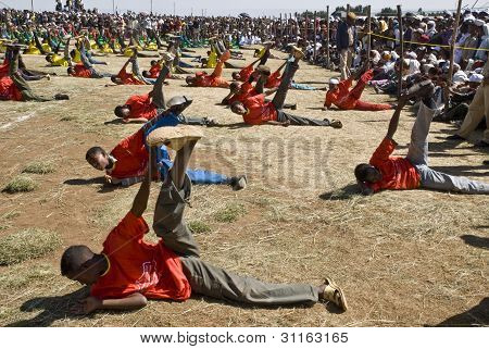 Ethiopian Youth Perfoming Exercise At The 20Th World Aids Day Event