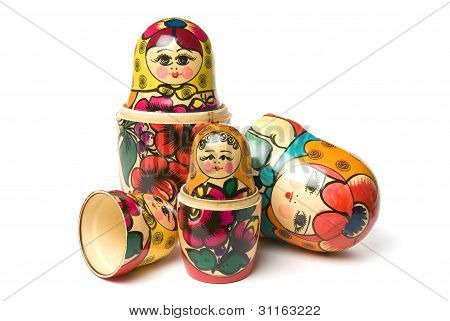 Russian Babushka or Matryoshka Dolls isolated on white background