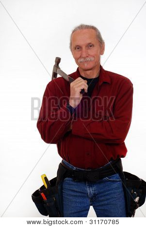 Contractor Holding Hammer