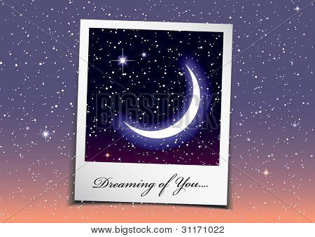 Dreaming of you at night with stars and space background