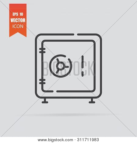 poster of Safe Icon In Flat Style Isolated On Grey Background.