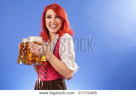 Oktoberfest Female Smiling With Beer