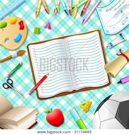 illustration of book,pen,pencil and other stationery on table